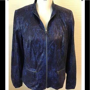 JM Collection Dark Blue Snake Print Jacket